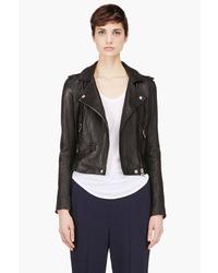 IRO Black Washed Leather Minimalist Ashville Biker Jacket