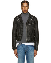Burberry Black Wroxford Biker Jacket