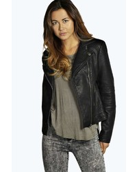 Boohoo Julia Quilted Sleeve Faux Leather Biker Jacket