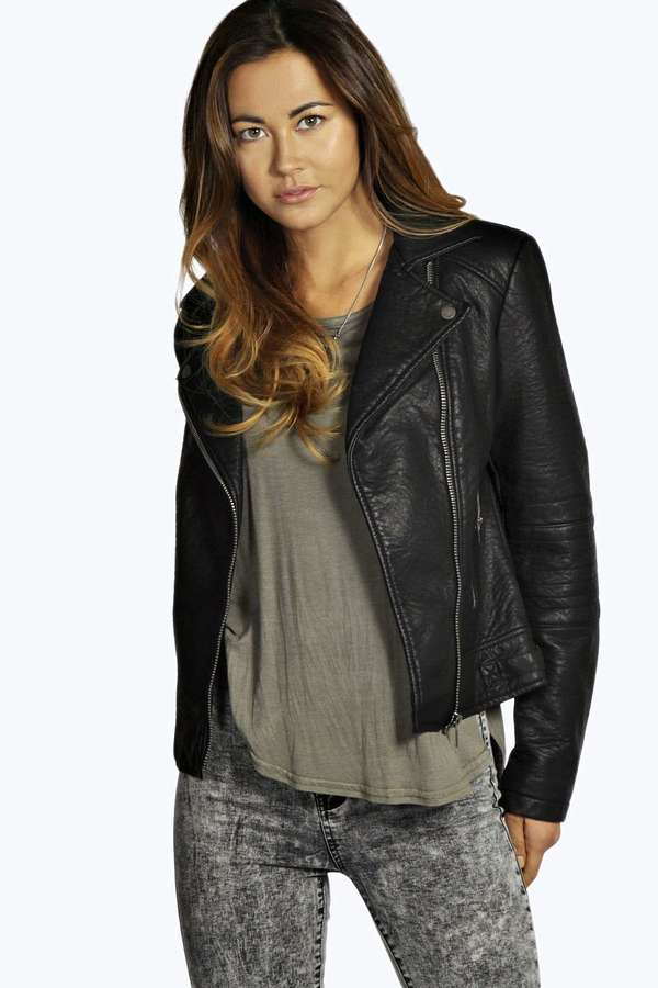Boohoo Julia Quilted Sleeve Faux Leather Biker Jacket Where To Buy