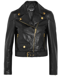 Moschino Boutique Leather Biker Jacket Black