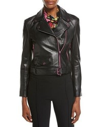Moschino Boutique Leather Moto Jacket W Contrast Zippers