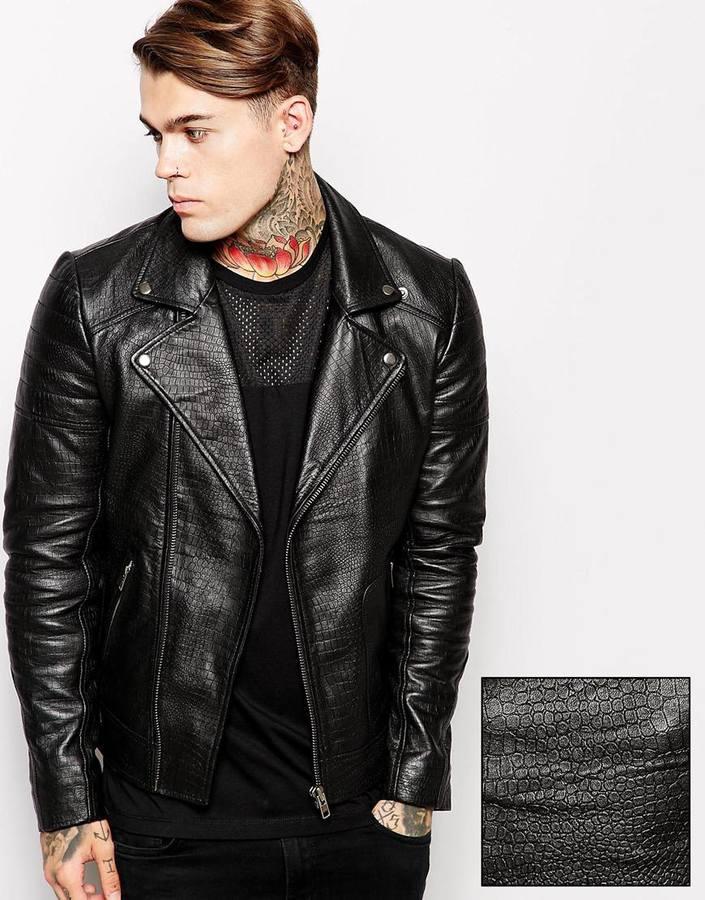 Asos black leather biker jacket