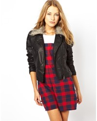 Brave Soul Leather Look Biker Jacket With Faux Fur Collar