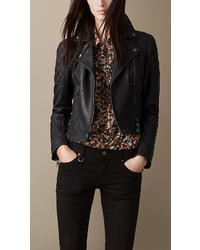 Burberry Grainy Leather Quilted Biker Jacket