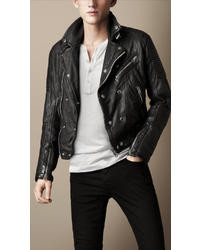 Burberry Quilted Panel Biker Jacket