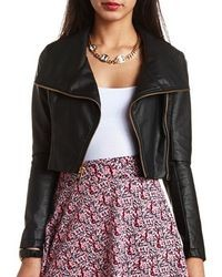 Charlotte Russe Cropped Faux Leather Moto Jacket
