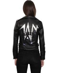 Chiara Ferragni Bolt Patches Faux Leather Biker Jacket