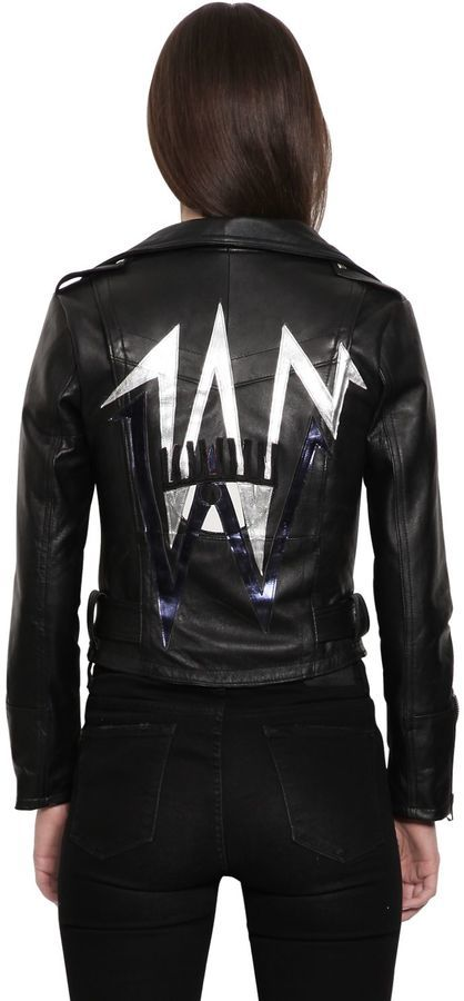 Chiara Ferragni Bolt Patches Leather Biker Jacket