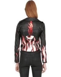 Chiara Ferragni Leather Biker Jacket W Flames