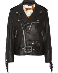 Golden Goose Deluxe Brand Chiodo Faux Fur Lined Leather Biker Jacket Black