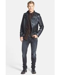8fa409b8158 ... Schott NYC Chips Slim Fit Moto Leather Jacket ...