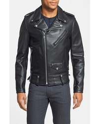 Schott NYC Chips Slim Fit Moto Leather Jacket