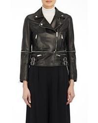 Christopher Kane Leather Biker Jacket With Zip Off Hem Black S