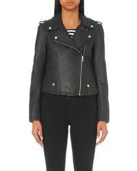 Claudie Pierlot Coconut Leather Biker Jacket
