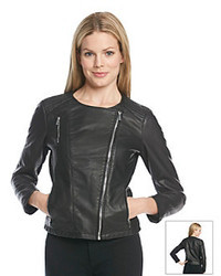 Calvin Klein Collarless Faux Leather Moto Jacket