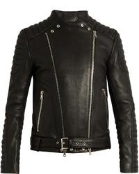 Balmain Collarless Grained Leather Biker Jacket