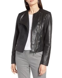Halogen Collarless Leather Jacket