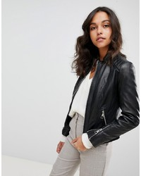 BOSS Casual Collarless Leather Jacket