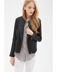 Forever 21 Collarless Quilted Moto Jacket