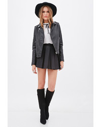 Forever 21 Contemporary Quilted Faux Leather Moto Jacket
