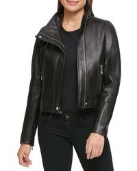 KARL LAGERFELD PARIS Crop Leather Jacket