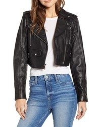 Sam Edelman Crop Leather Moto Jacket