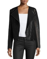 Neiman Marcus Cropped Cutout Leather Moto Jacket Black
