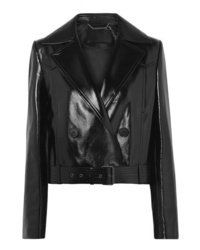 Givenchy Cropped Double Breasted Glossed Leather Biker Jacket