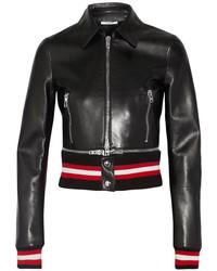 Givenchy Cropped Leather Biker Jacket Black