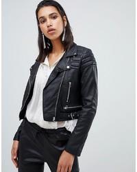 Goosecraft Cropped Leather Biker Jacket