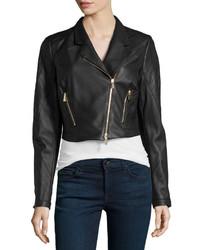 Jason Wu Cropped Leather Moto Jacket Black
