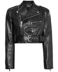 Alexander McQueen Cropped Textured Leather Biker Jacket