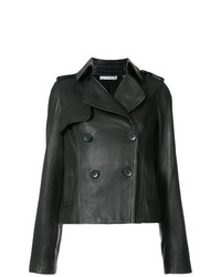 Vince Cropped Trench Leather Jacket
