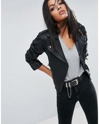 Asos Cropped Washed Leather Biker Jacket