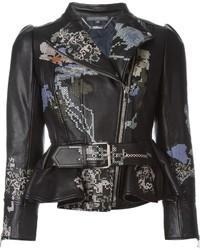 Alexander McQueen Cross Stitch Embroidered Biker Jacket