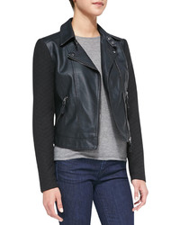 Neiman Marcus Cusp By Quilted Detail Faux Leather Jacket Black