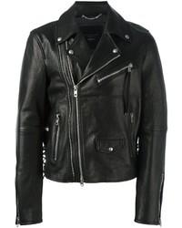 Diesel Black Gold Leather Biker Jacket