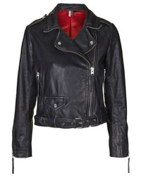 Distressed Belted Leather Jacket