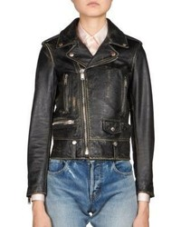 Saint Laurent Distressed Leather Moto Jacket