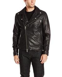 DKNY Jeans Washed Leather Biker Jacket