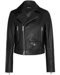 DKNY Leather Biker Jacket Black