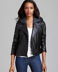 DKNY Leather Jacket Moto Knit Hood