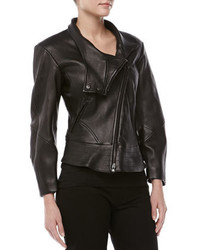 Donna Karan Leather Plonge Biker Jacket