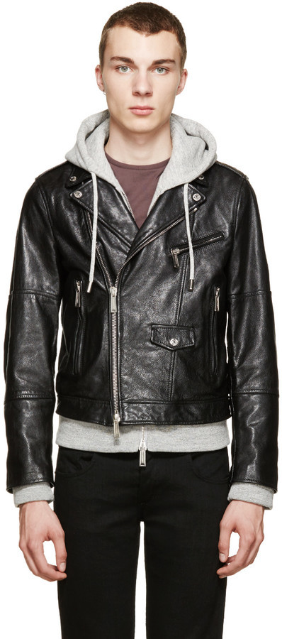 DSQUARED2 Black Grey Hybrid Leather Jacket With Hoodie | Where to ...