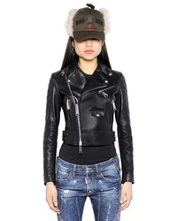 Dsquared2 Quilted Nappa Leather Moto Jacket