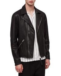 AllSaints Ezra Slim Fit Leather Biker Jacket