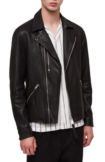 AllSaints Ezra Slim Fit Leather Biker Jacket