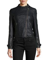 Bagatelle Faux Leather Crinkled Biker Jacket Black