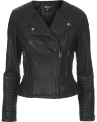 Topshop Faux Leather Peplum Biker Jacket